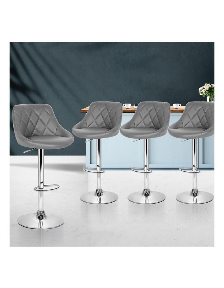 4x Kitchen Bar Stools Swivel Bar Stool PU Leather Gas Lift Chairs Grey image 3