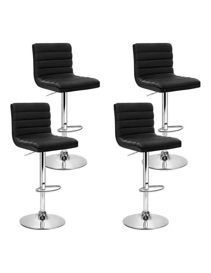 4x Leather Bar Stools ARNE Swivel Bar Stool Kitchen Chairs Black Gas Lift image 1