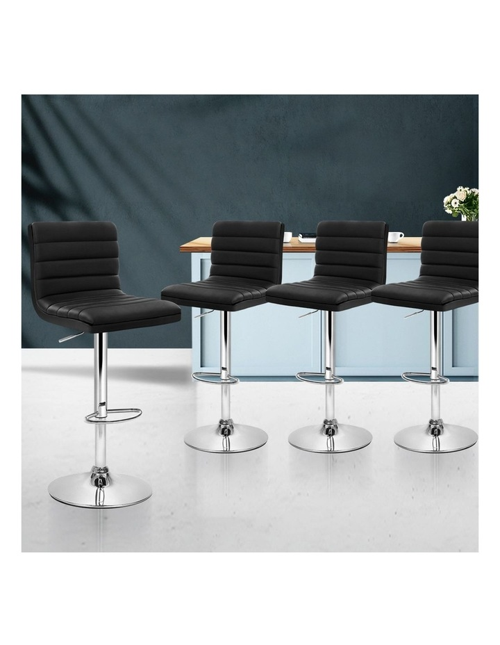 4x Leather Bar Stools ARNE Swivel Bar Stool Kitchen Chairs Black Gas Lift image 3