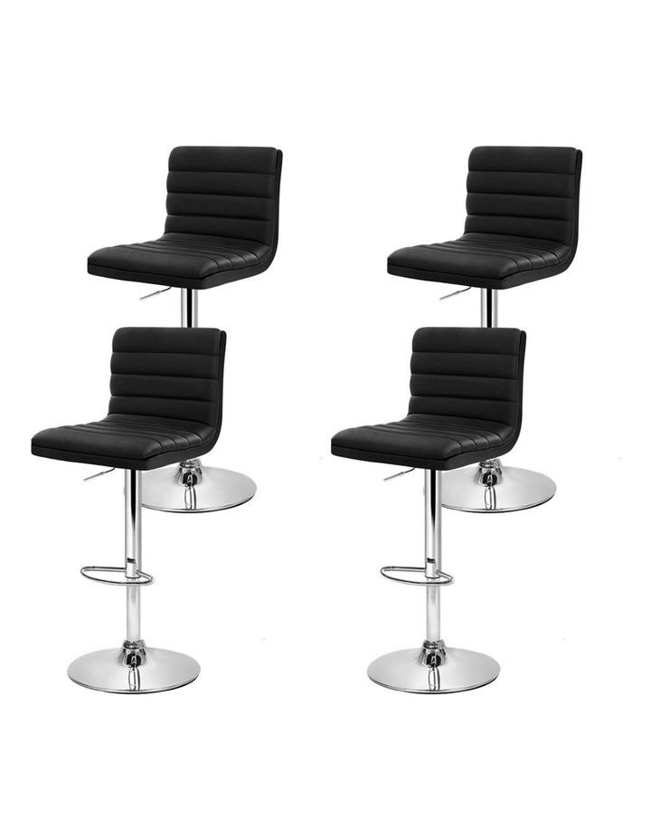 4x Leather Bar Stools ARNE Swivel Bar Stool Kitchen Chairs Black Gas Lift image 4