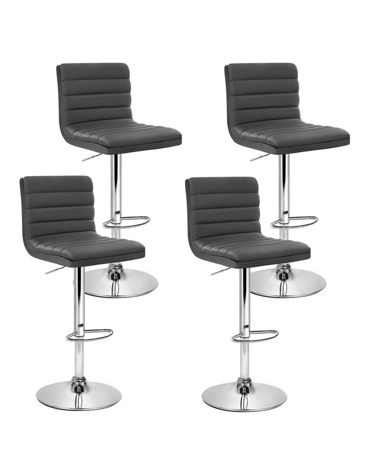 4x Leather Bar Stools Swivel Bar Stool Kitchen Chairs Gas Lift Grey image 1