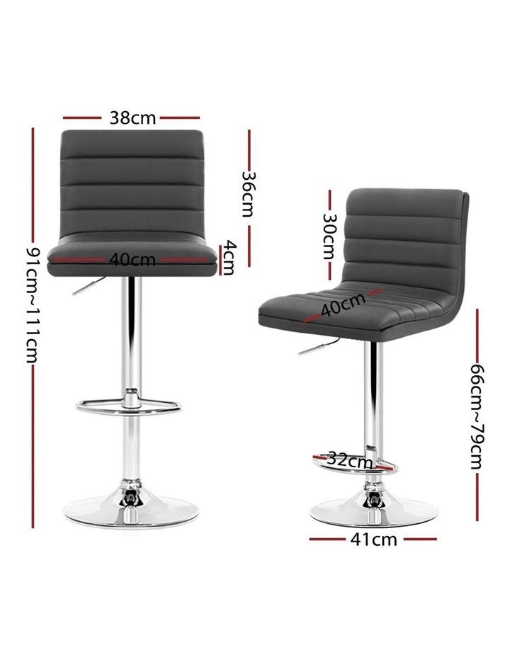 4x Leather Bar Stools Swivel Bar Stool Kitchen Chairs Gas Lift Grey image 2