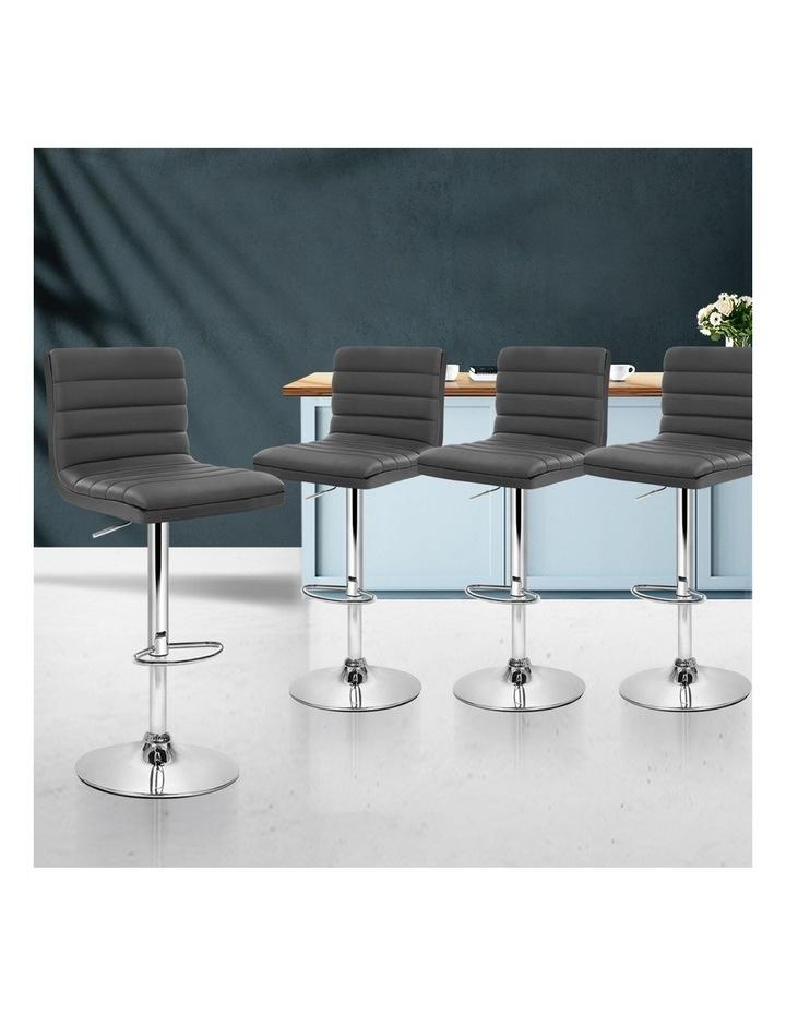 4x Leather Bar Stools Swivel Bar Stool Kitchen Chairs Gas Lift Grey image 3