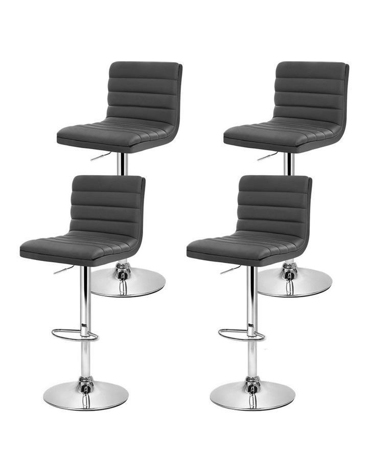 4x Leather Bar Stools Swivel Bar Stool Kitchen Chairs Gas Lift Grey image 4
