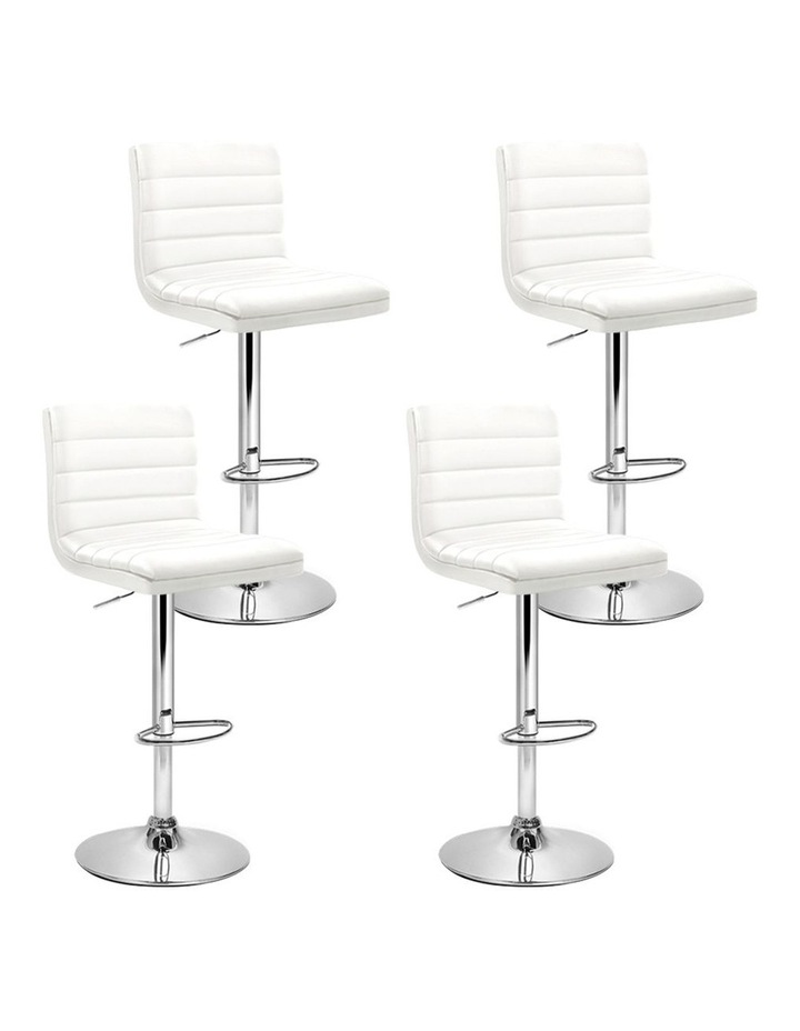 4x Leather Bar Stools ARNE Swivel Bar Stool Kitchen Chairs White Gas Lift image 1
