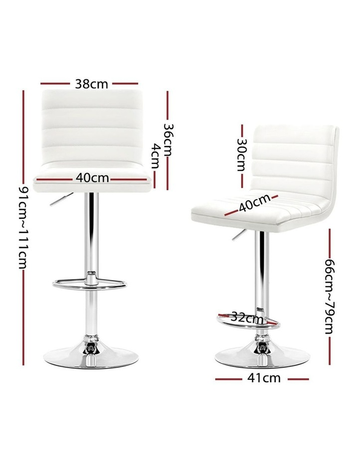 4x Leather Bar Stools ARNE Swivel Bar Stool Kitchen Chairs White Gas Lift image 2