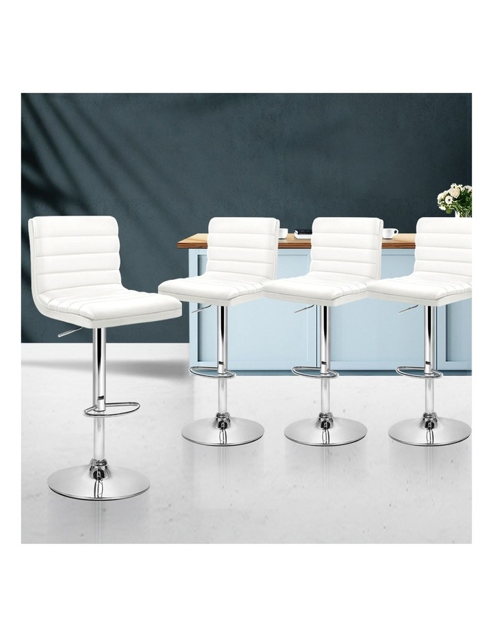 4x Leather Bar Stools ARNE Swivel Bar Stool Kitchen Chairs White Gas Lift image 3