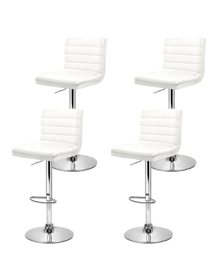 4x Leather Bar Stools ARNE Swivel Bar Stool Kitchen Chairs White Gas Lift image 4