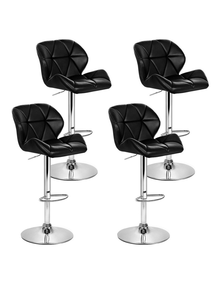 4x Kitchen Bar Stools Swivel Bar Stool Leather Gas Lift Chairs Black image 1