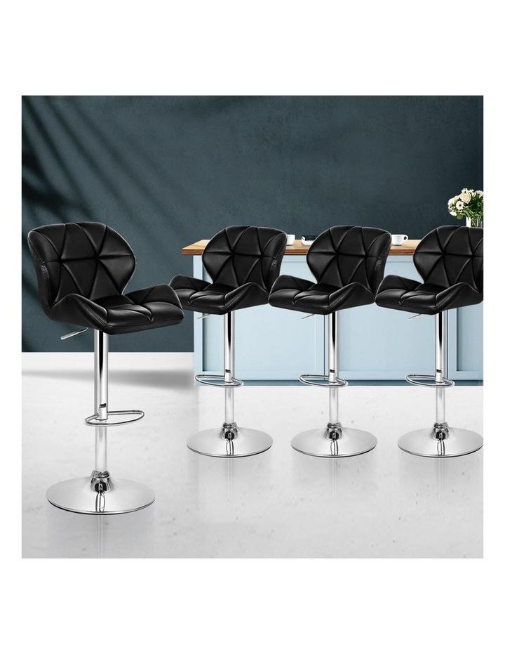 4x Kitchen Bar Stools Swivel Bar Stool Leather Gas Lift Chairs Black image 3