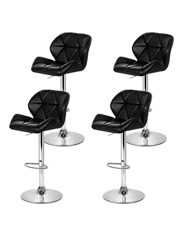 4x Kitchen Bar Stools Swivel Bar Stool Leather Gas Lift Chairs Black image 4