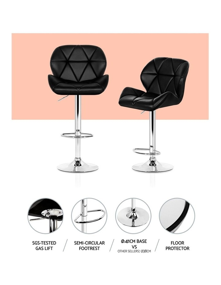 4x Kitchen Bar Stools Swivel Bar Stool Leather Gas Lift Chairs Black image 5