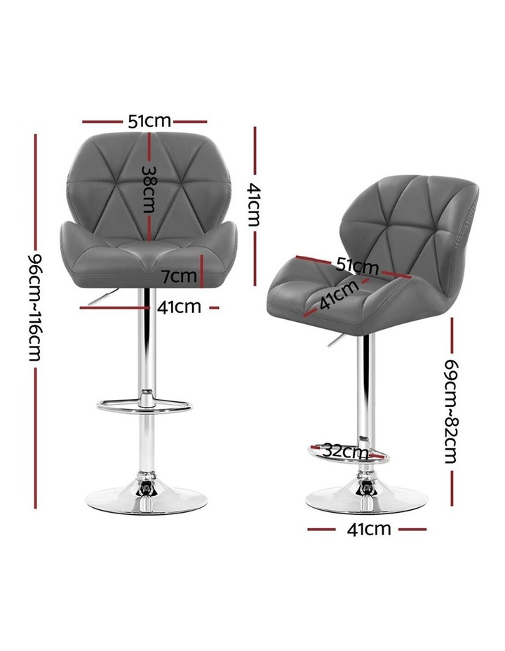 4x Kitchen Bar Stools Swivel Bar Stool Leather Gas Lift Chairs Grey image 2