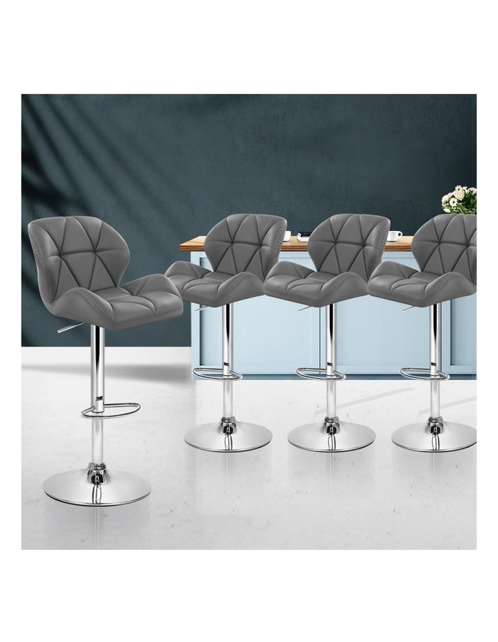 4x Kitchen Bar Stools Swivel Bar Stool Leather Gas Lift Chairs Grey image 3
