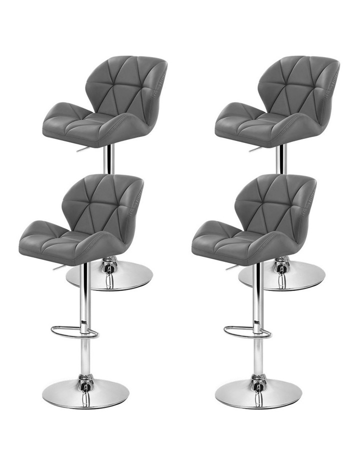 4x Kitchen Bar Stools Swivel Bar Stool Leather Gas Lift Chairs Grey image 4