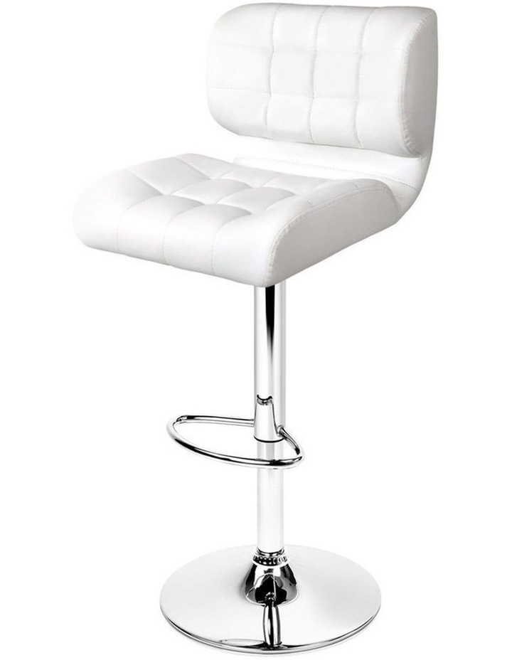 4x Bar Stools PU Leather Chrome Kitchen Bar Stool Chairs Gas Lift White image 1