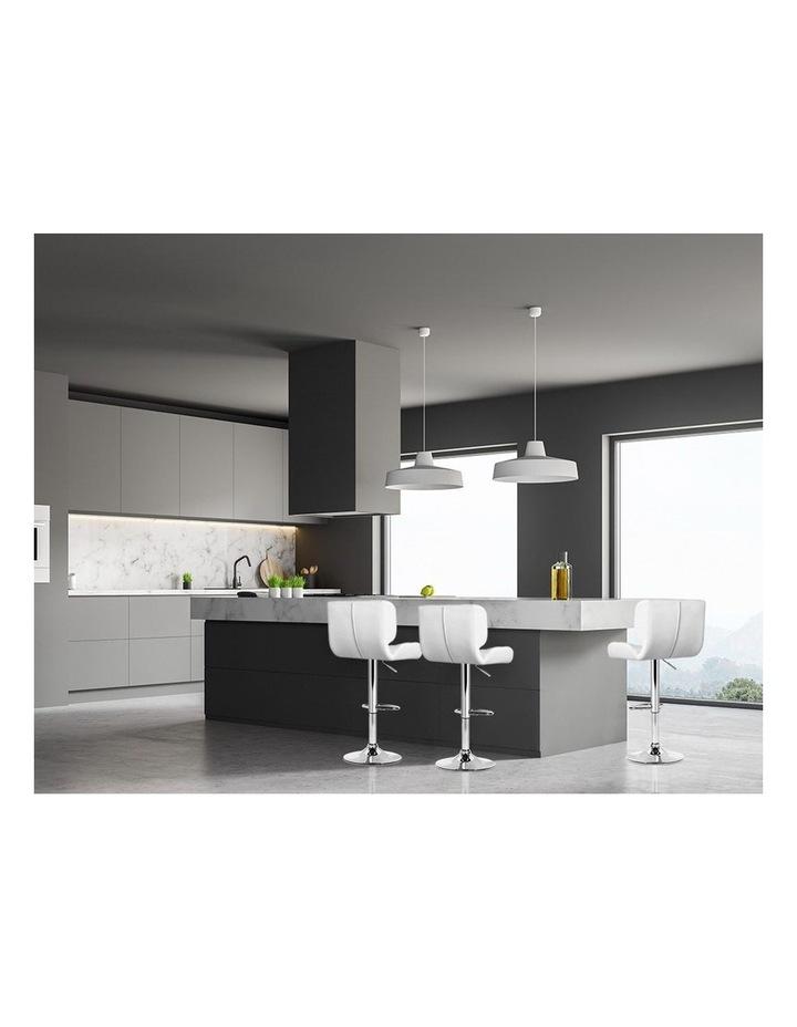 4x Bar Stools PU Leather Chrome Kitchen Bar Stool Chairs Gas Lift White image 3