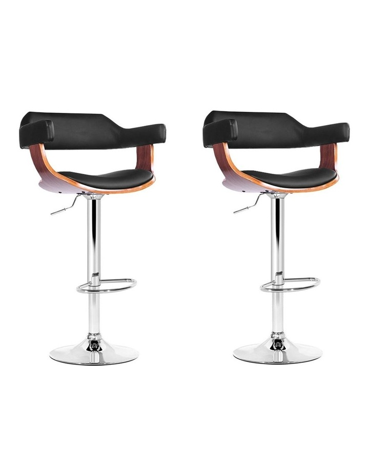 2x Wooden Bar Stools SELINA Kitchen Swivel Bar Stool Chairs Leather Black image 1