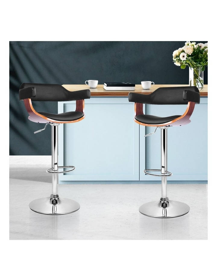 2x Wooden Bar Stools SELINA Kitchen Swivel Bar Stool Chairs Leather Black image 3