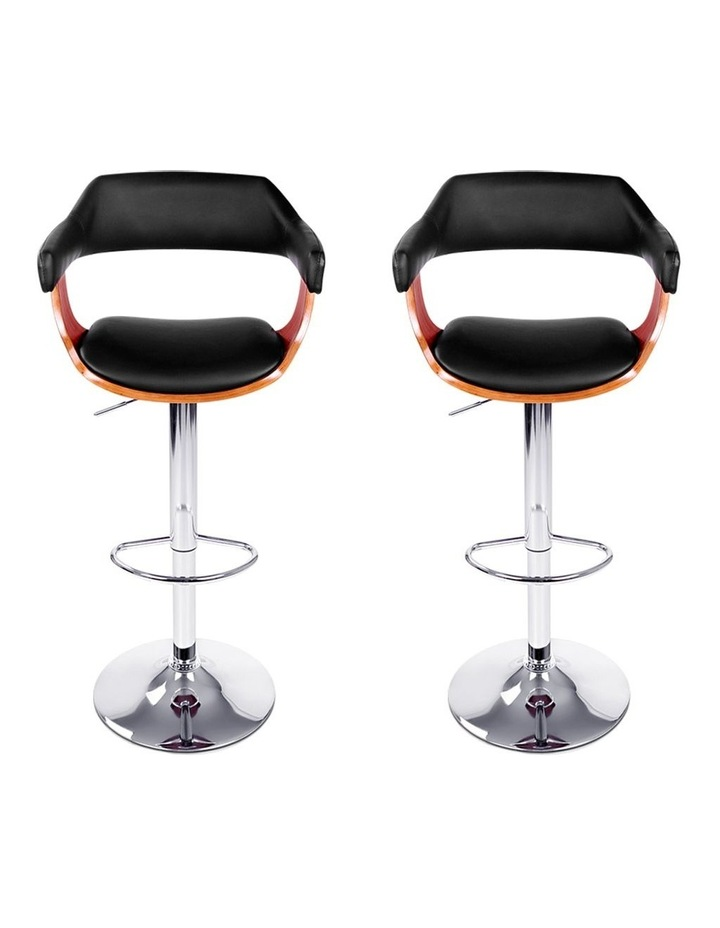 2x Wooden Bar Stools SELINA Kitchen Swivel Bar Stool Chairs Leather Black image 4