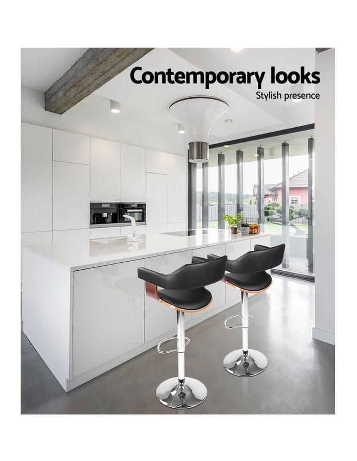 2x Wooden Bar Stools SELINA Kitchen Swivel Bar Stool Chairs Leather Black image 5