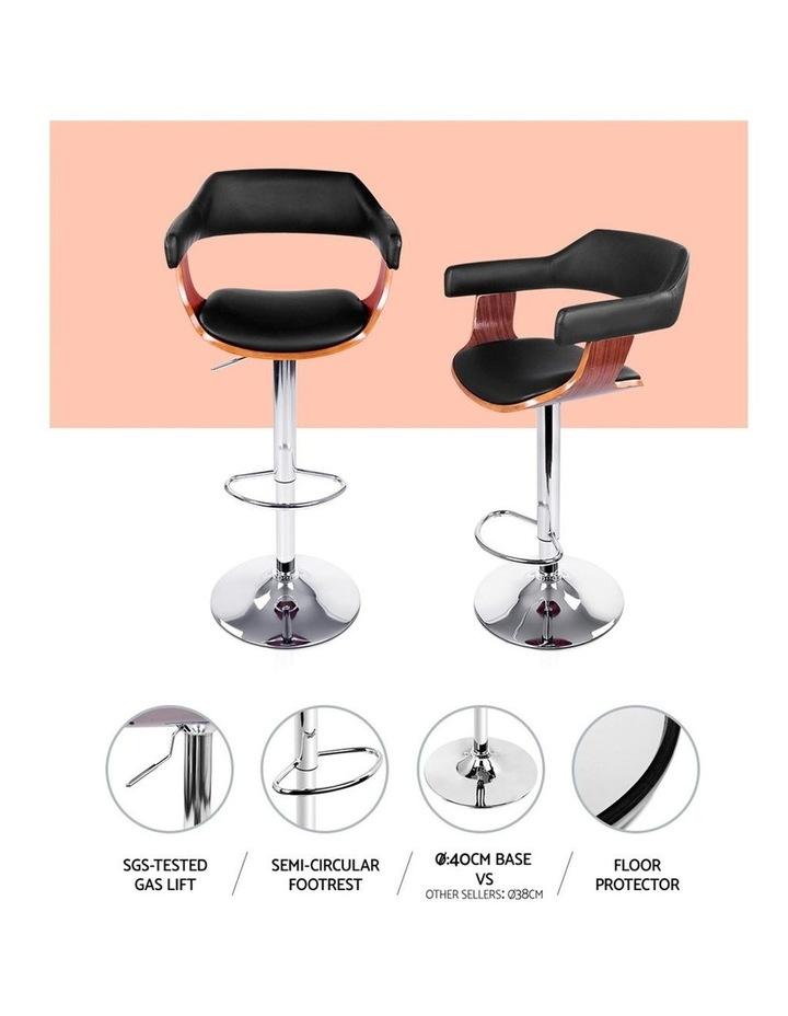 2x Wooden Bar Stools SELINA Kitchen Swivel Bar Stool Chairs Leather Black image 6