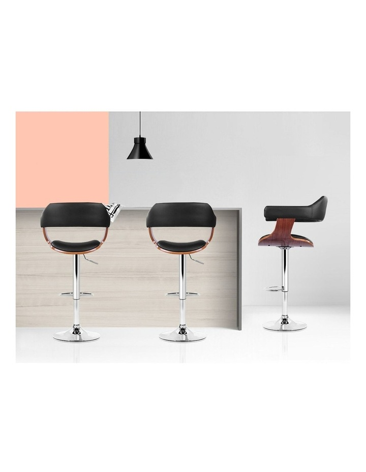 2x Wooden Bar Stools SELINA Kitchen Swivel Bar Stool Chairs Leather Black image 7