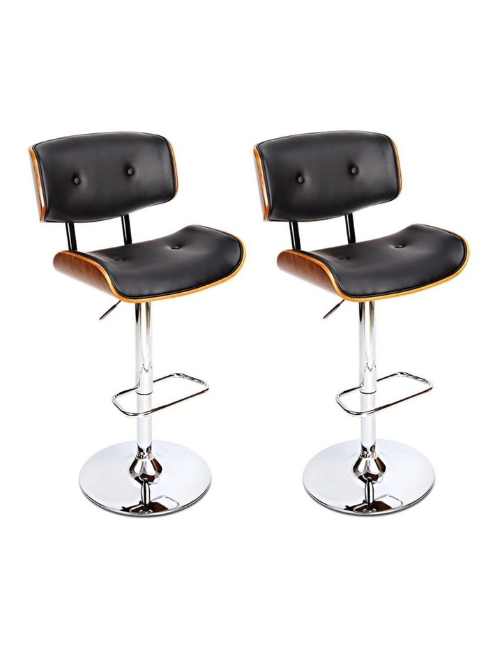 2x Wooden Bar Stools Bar Stool Kitchen Chair Dining Black Pad Gas Lift 8045 image 1