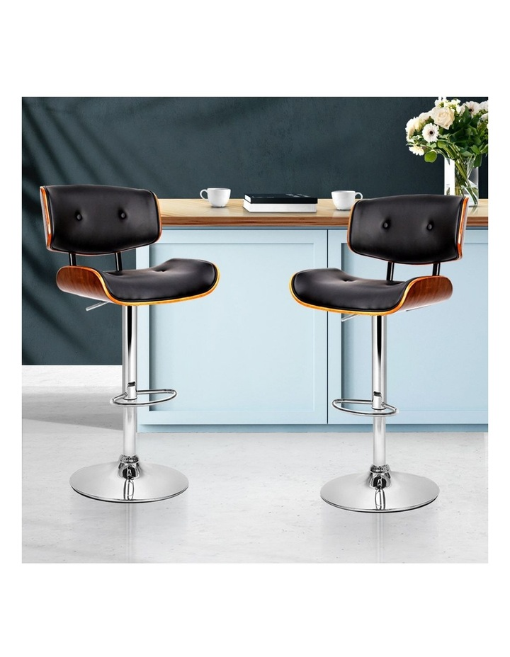 2x Wooden Bar Stools Bar Stool Kitchen Chair Dining Black Pad Gas Lift 8045 image 3
