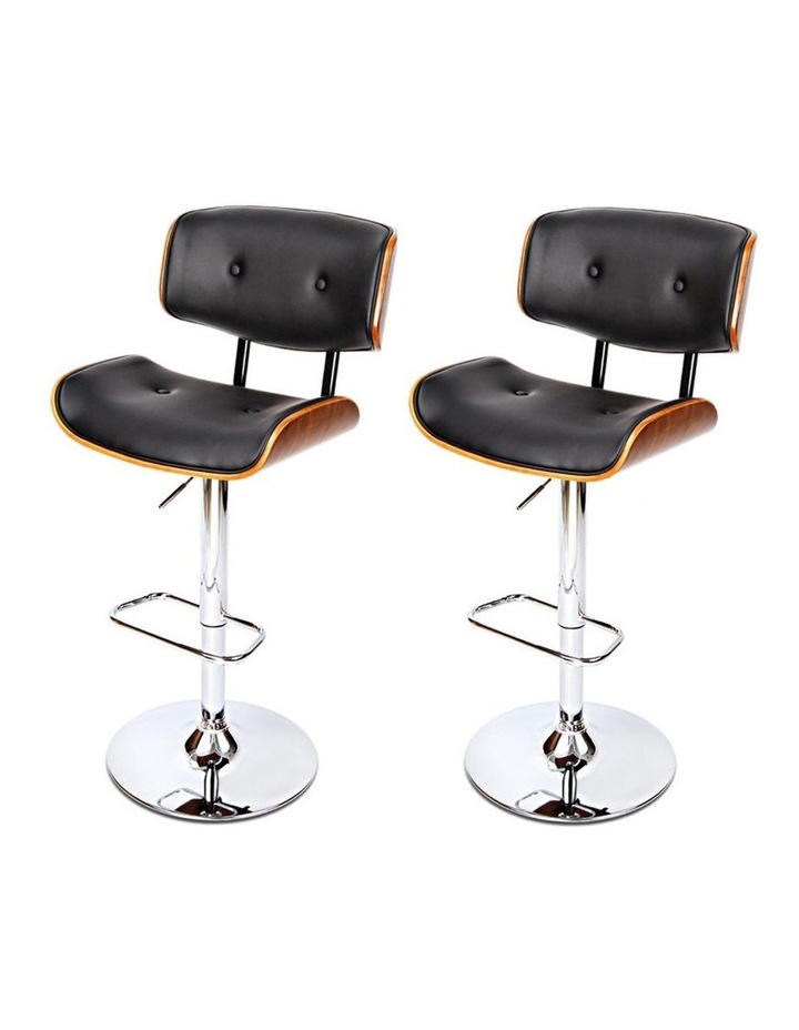 2x Wooden Bar Stools Bar Stool Kitchen Chair Dining Black Pad Gas Lift 8045 image 4