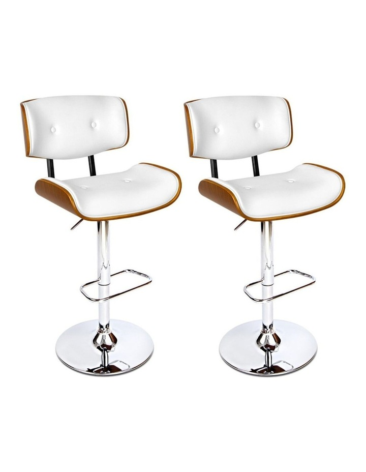 2x Wooden Bar Stools Bar Stool Kitchen Chair Dining White Pad Gas Lift 8045 image 1