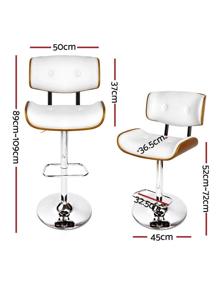 2x Wooden Bar Stools Bar Stool Kitchen Chair Dining White Pad Gas Lift 8045 image 2