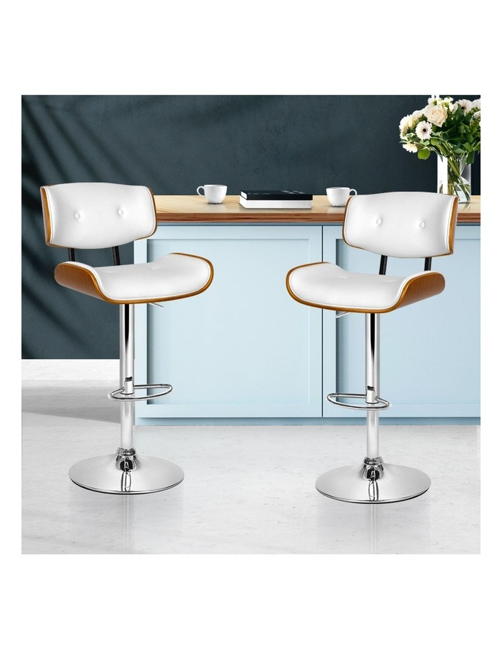 2x Wooden Bar Stools Bar Stool Kitchen Chair Dining White Pad Gas Lift 8045 image 3