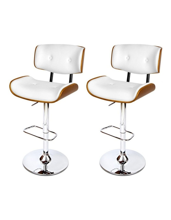 2x Wooden Bar Stools Bar Stool Kitchen Chair Dining White Pad Gas Lift 8045 image 4