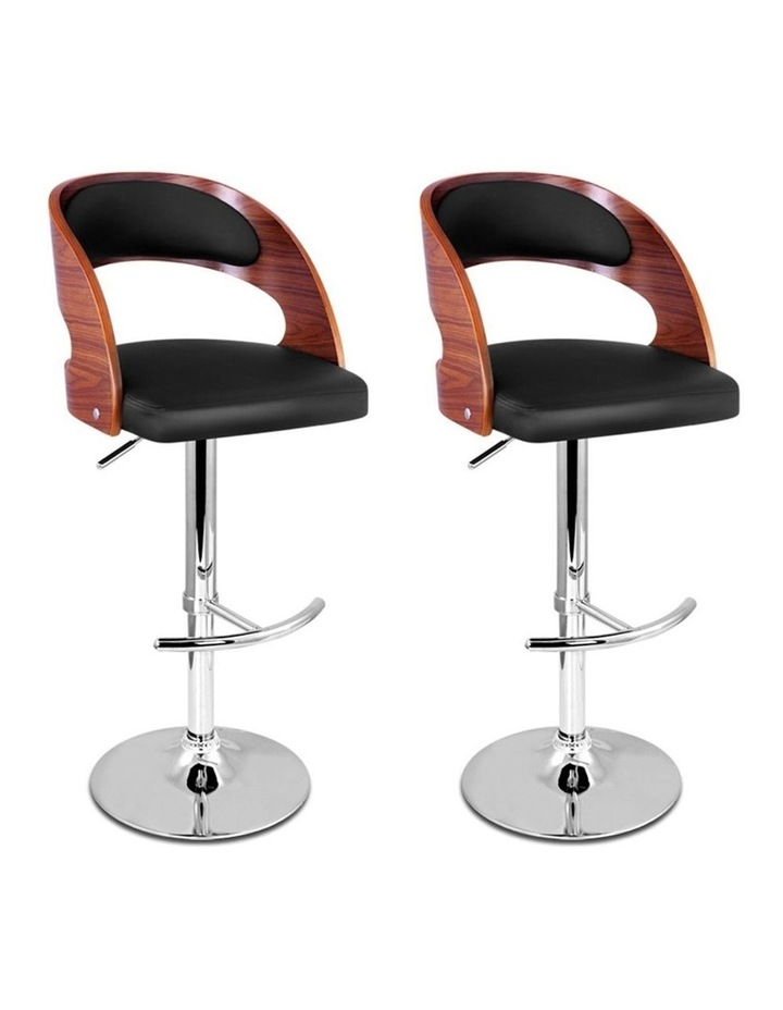 2x Wooden Bar Stools Bar Stool Kitchen Dining Chairs Gas Lift Bella Black image 1
