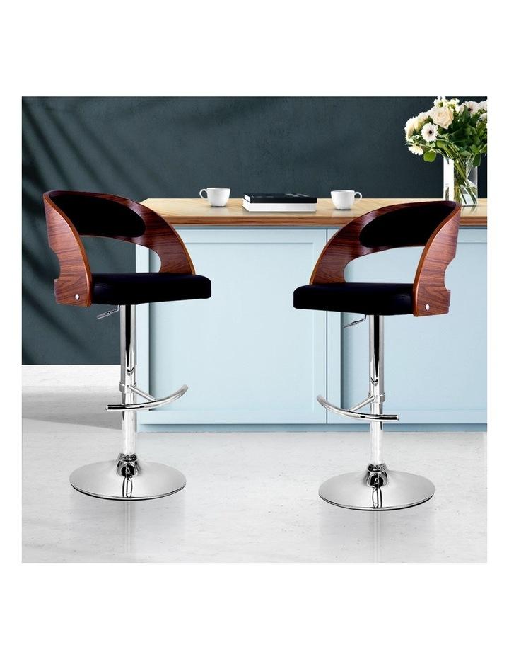 2x Wooden Bar Stools Bar Stool Kitchen Dining Chairs Gas Lift Bella Black image 3