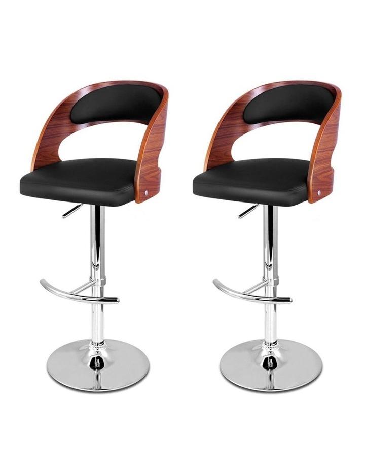2x Wooden Bar Stools Bar Stool Kitchen Dining Chairs Gas Lift Bella Black image 4