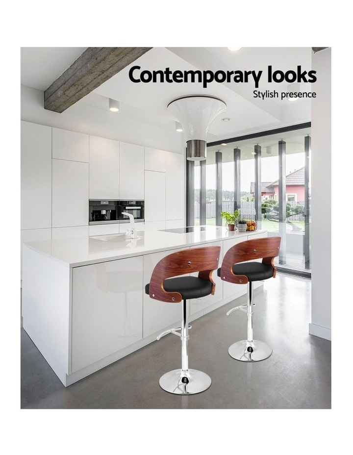 2x Wooden Bar Stools Bar Stool Kitchen Dining Chairs Gas Lift Bella Black image 6