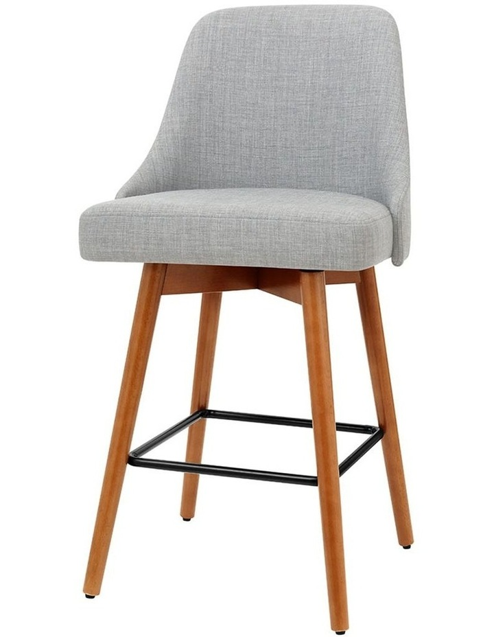 4x Wooden Bar Stools Swivel Bar Stool Kitchen Dining Chairs Cafe Grey image 1