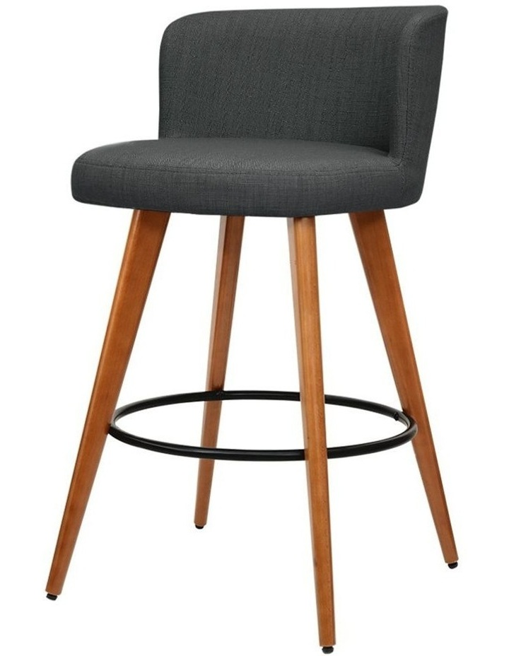 4x Wooden Bar Stools Modern Bar Stool Kitchen Dining Chairs Cafe Charcoal image 1
