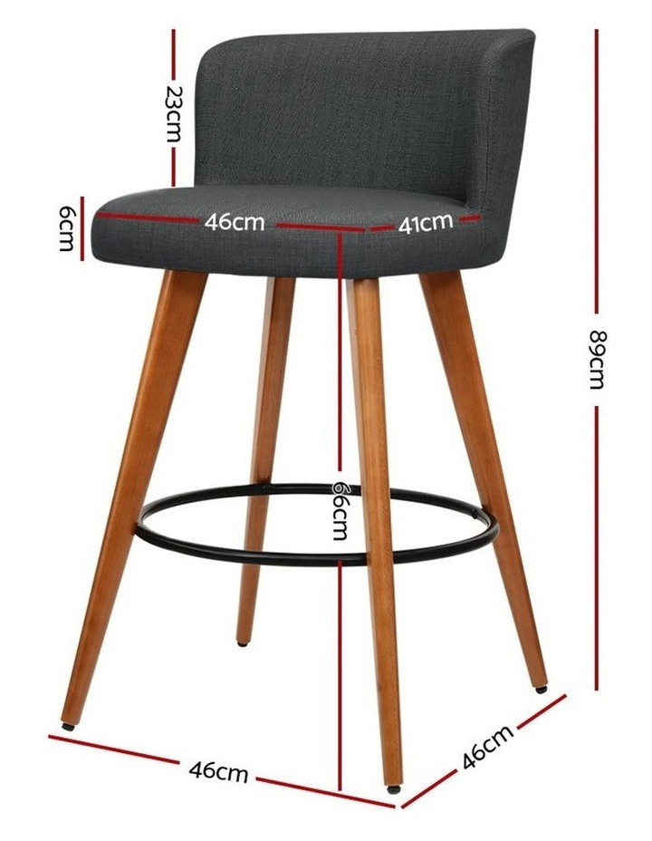 4x Wooden Bar Stools Modern Bar Stool Kitchen Dining Chairs Cafe Charcoal image 2