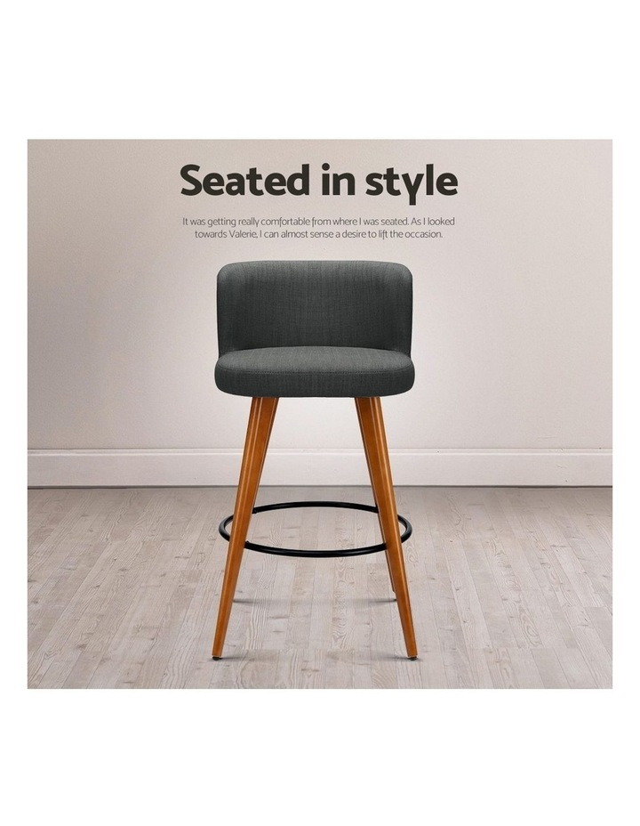 4x Wooden Bar Stools Modern Bar Stool Kitchen Dining Chairs Cafe Charcoal image 7
