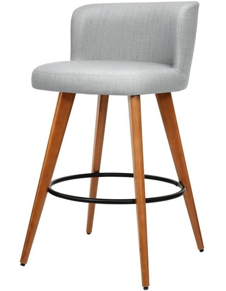 4x Wooden Bar Stools Modern Bar Stool Kitchen Dining Chairs Cafe Grey image 1