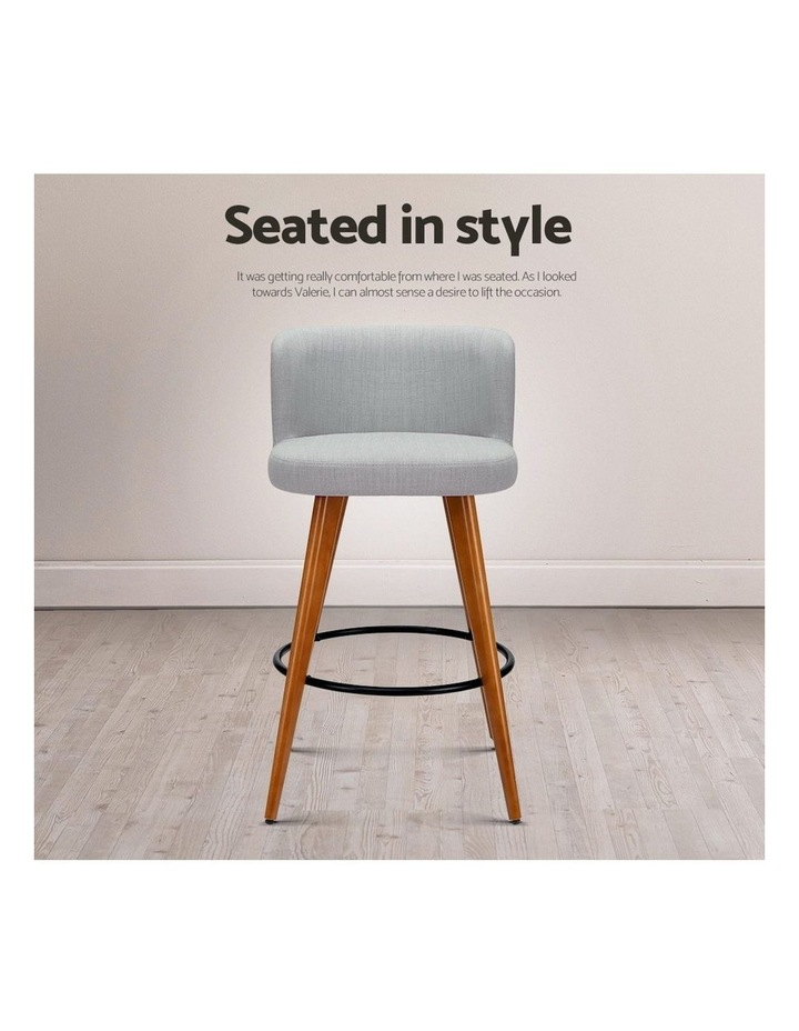 4x Wooden Bar Stools Modern Bar Stool Kitchen Dining Chairs Cafe Grey image 7
