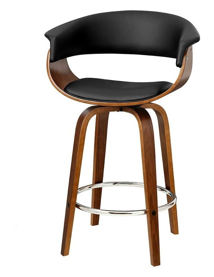 2x Bar Stools Wooden Bar Stool Swivel Kitchen Dining Chairs Leather Black image 1