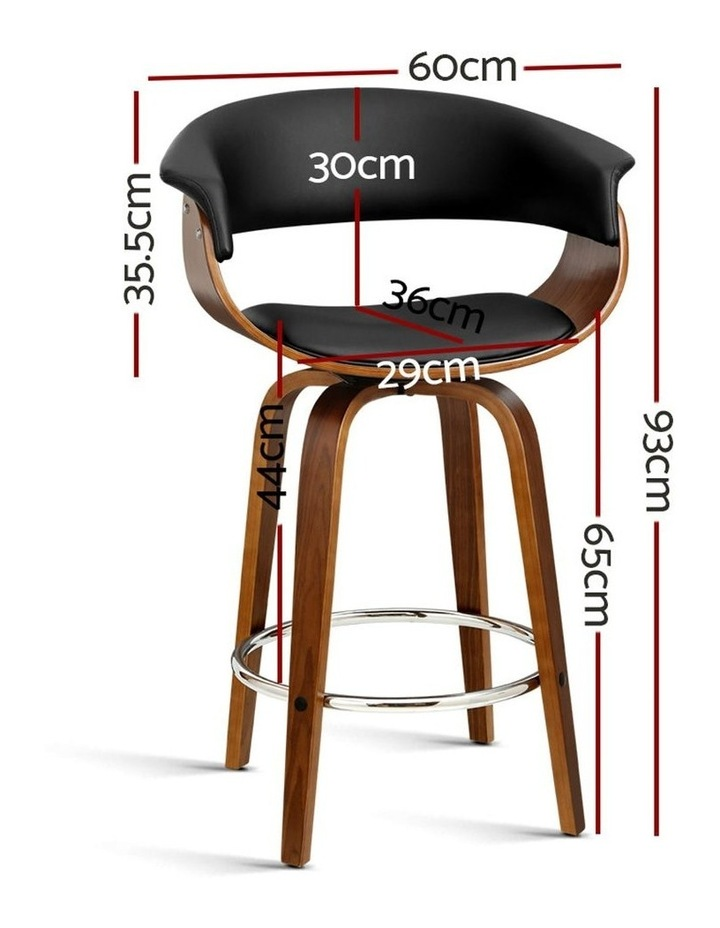 2x Bar Stools Wooden Bar Stool Swivel Kitchen Dining Chairs Leather Black image 2