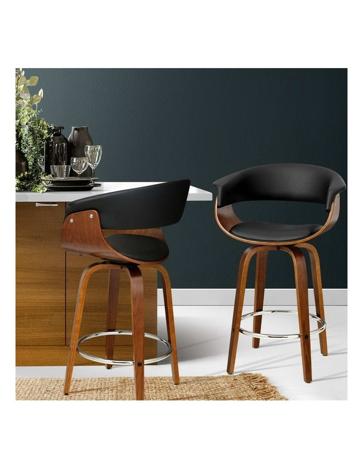 2x Bar Stools Wooden Bar Stool Swivel Kitchen Dining Chairs Leather Black image 3