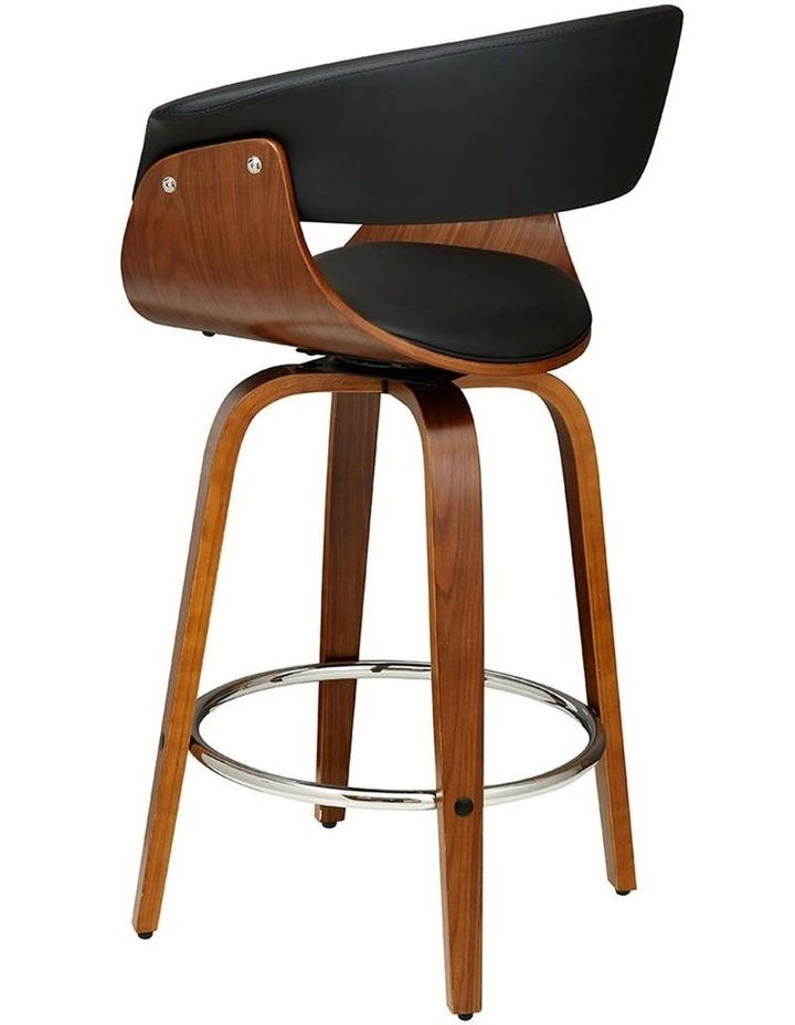 2x Bar Stools Wooden Bar Stool Swivel Kitchen Dining Chairs Leather Black image 4