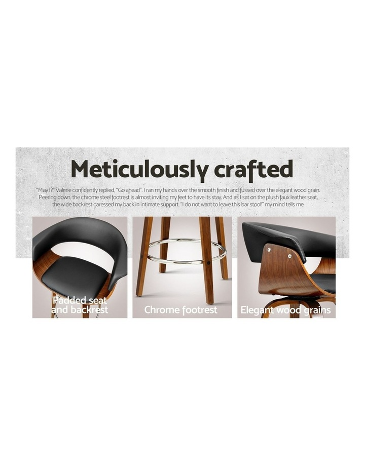 2x Bar Stools Wooden Bar Stool Swivel Kitchen Dining Chairs Leather Black image 6