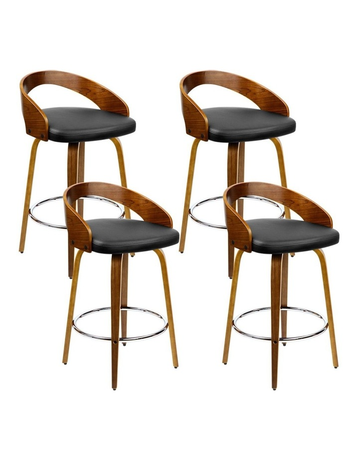 4x Wooden Bar Stools Swivel Bar Stool Kitchen Dining Chairs Wood Black image 1